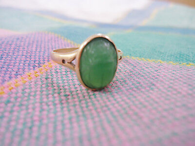 Vintage Art Deco Egyptian Revival 10K Gold/apple Green Jade Scarab Ring Size 9