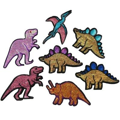 DIY Sequin Dinosaur Patches Embroidered Applique Clothing Sew Badges 3D Stickers