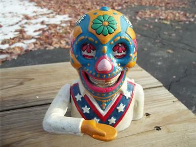 Cast Iron Mexican Skull Mechanical Bank Lucha Libre Day Of The Dead Holiday Bank