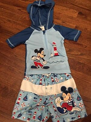 Disney Baby Bathing Suit Shirt And Shorts 18-24 Months
