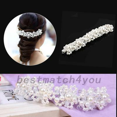 Queen Wedding Bridal Prom Party Pearl Crystal Bride Tiara Hair Band Headband
