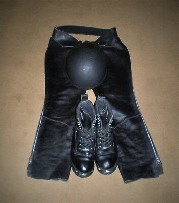 Combo Milwaukee Motorcycle Renegade Boot MB423 Size 8D Leather Chaps Helmet