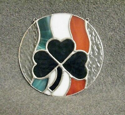 Hand Made Stained Glass Irish Flag and Clover
