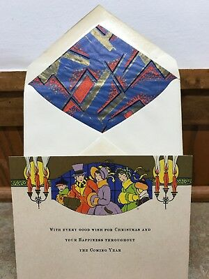Unused Vintage Art Deco Christmas Card Matching Envelope 1930s Family Shopping