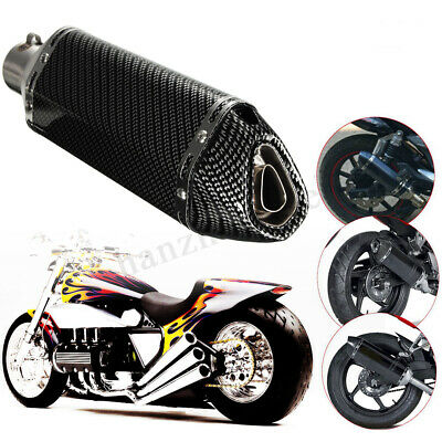 Motorcycle 38-51mm Carbon Fiber Exhaust Muffler Silencer Pipe Slip-On Scooter