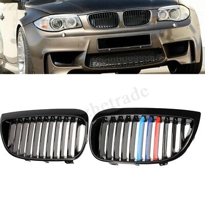 Gloss Black M-Color Kidney Grilles Grille For BMW 1 Series E81 E87 2004-2007 /