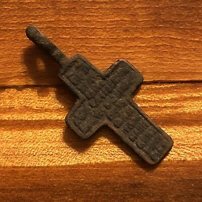 Rare 1700's Copper Cross Pendant Catholic Christian Jesus Medieval Style Writing