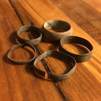 5 Ancient Or Medieval Wedding Band Rings Lot Authentic Artifact Lot Roman Europe