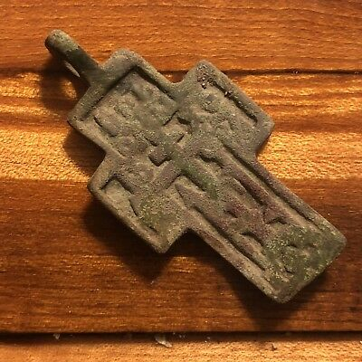 Rare 1600's Copper Cross Pendant Catholic Christian Jesus Medieval Style Writing