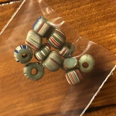 10 Ancient Roman Glass Beads 2000+ Years Old! Authentic Artifact Green Striped