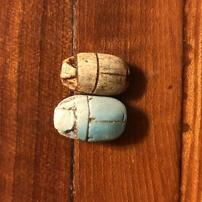 Ancient Egypt Fieance Clay Scarab Beads Bug New Kingdom Rare? 2000+ Years Old