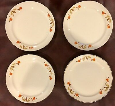 HALL China Autumn Leaf JEWEL TEA Pie or Dessert Plate SET of 4! 7 1/2""