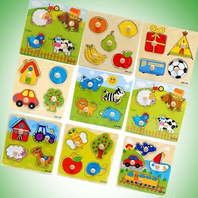 Baby Toddler Intelligence Development Animal Wooden Brick Puzzle Toys Classic R