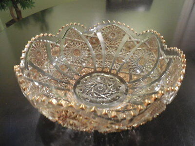 Vintage Imperial Gold Encrusted Cut Glass Crystal Bowl