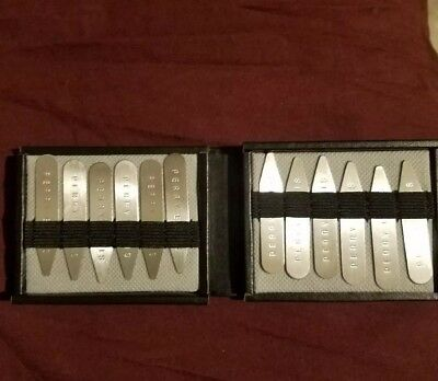 New Perry Ellis Men's Metal Collar Stays W/ Black Leather Case 12 pieces
