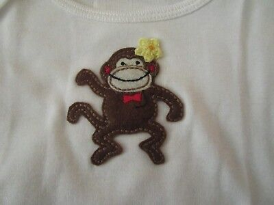 Best of Chums White Long Sleeve Top w/Stitched Monkey w/Flower Size 12 mo NWOT