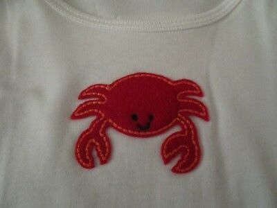 Best of Chums White Long Sleeve Top with Cute Red Crab Size 12 mo NWOT