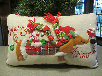 MERRY CHRISTMAS Red/Brown Dachshund & birdie in Santa hats Whimsical Pillow!