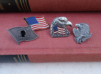Lot of 4 Tac Pins Eagles American Flag Pow Pewter & Gold Tone NOS