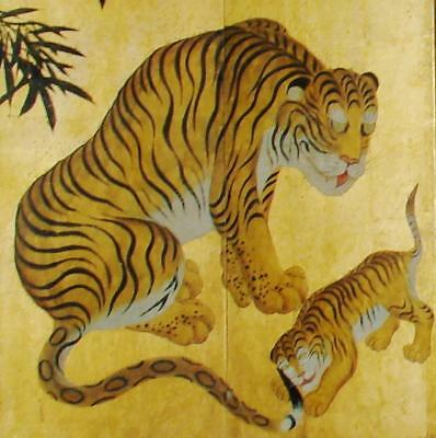 "JAPANESE FOLDING SCREEN: ""Antique Tigers, Leopard & Bamboo "",c.1880, Meiji Era"