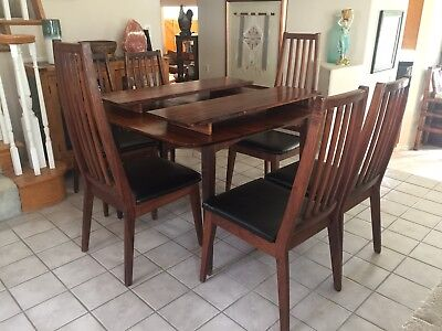 Vintage Mid Century Danish Modern Furniture Walnut Dining Table W/ 6 Chairs Set