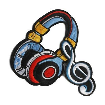 Cartoon Headphone Patches Music Embroidered Applique DIY Clothes Sew Badges