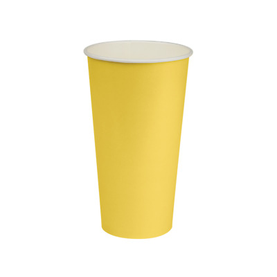 50x Paper Cold Drink Cup 22oz / 650mL Yellow Milkshake Slushie Frozen Juice NEW