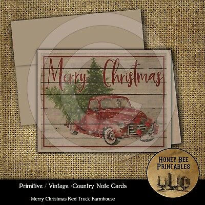 Primitive Vintage Farmhouse Note Cards - Merry Christmas Red Truck w/ Envelopes