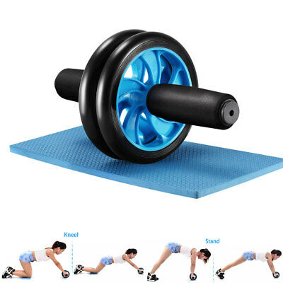 Ab Wheel Roller Abdominal Exercise Fitness Gym Strength Training w/ Knee Pad Mat