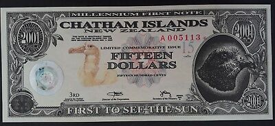 2001 New Zealand Chatham Island $15 First Millennium  Banknote