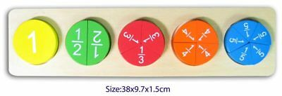 Wooden FRACTION PUZZLE Divide Half Quarter Circle Math Learn Educational Toy