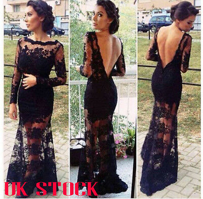 Women Lace See Through Backless Maxi Dress Cocktail Party Evening Bodycon Dress