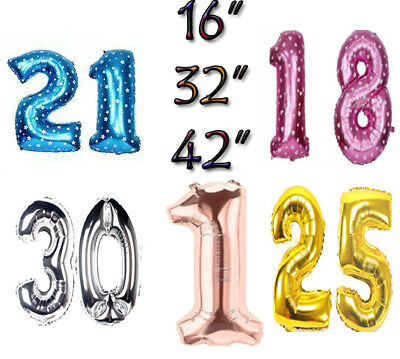 Large Age 1st/16/18/21/25/30/40/50/60/70/80th Birthday Foil Ballon Party Number