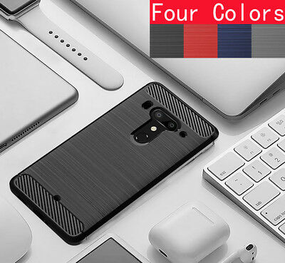 For HTC U12+ (U12 Plus), Shockproof Hybrid Carbon Fiber Brushed Gel Cover Case