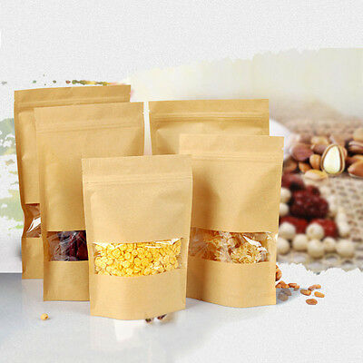20pcs Kraft Paper Food Bags with Window Sealable Envelope Shopping Bags New