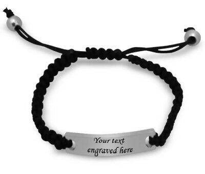 Engraved personalised cord  bracelet in gift pouch your costum text free gift