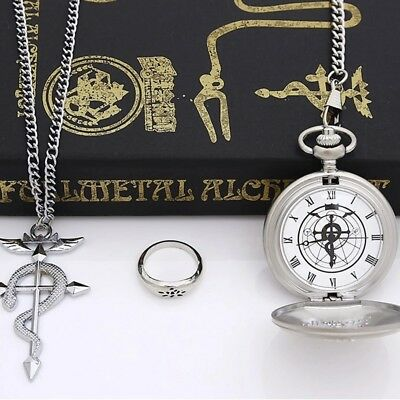 Stainless Steel Pendant Fullmetal Alchemist Edward Pocket Watch with Necklace