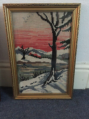 """Wooden Framed Stitched Needlepoint WINTER SCENE Picture 11.2 X 16.5"""""""