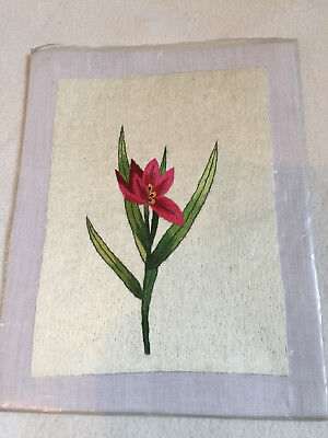 """FLORAL Stitched Picture UNFRAMED 9.5 X 7.7"""" NEW"""
