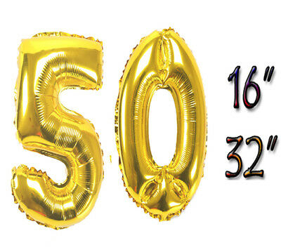 "16""/32"" Gold Number Balloons 50th Birthday Party Anniversary Foil Balloon Decor"