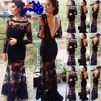 Women Sexy Formal Lace Backless Long Maxi Dress Evening Party Cocktail Prom Gown