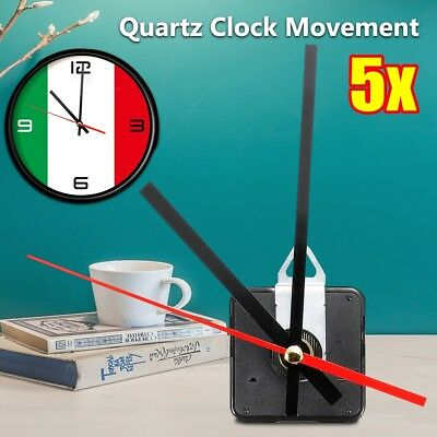 5Pcs Quartz Movement Mechanism Silent Clock Black & Red Hour Minute Second Hand