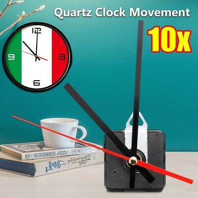 10pcs Silent Quartz Clock Movement Mechanism Red+Black Hour Minute Second Hand