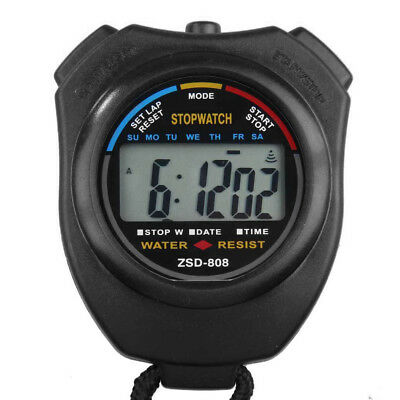LCD Electronic Timer Digital Sport Stopwatch Date Time Alarm Counter Chronograph