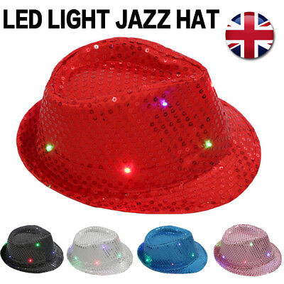 Unisex Flashing Light Up Led Fedora Trilby Sequin Fancy Dress Dance Party  Hat UK 7b26195fef5a
