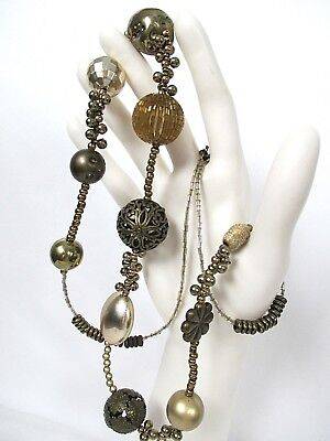 Unusual BOHO Retro Mix Metal & Bugle Glass Beads - Brass- Gold Tone Necklace 32""