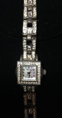 Women's Xanadu Mother of Pearl Rhinestone Crystal Watch Silver Tone Gorgeous!