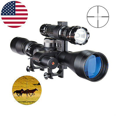 Cvlife 3-9X40 Crosshair Tactical Hunting Rifle Scope w/ Red Laser Sight + Torch