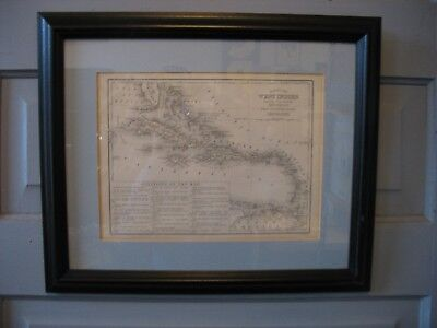 1870s West Indies FRAMED Map-Mitchell's New Intermediate Geography RT Knight ill