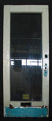 "36""x81"" Antique Vintage Exterior Entry Oak Door Wood Wooden Window Glass Lite"